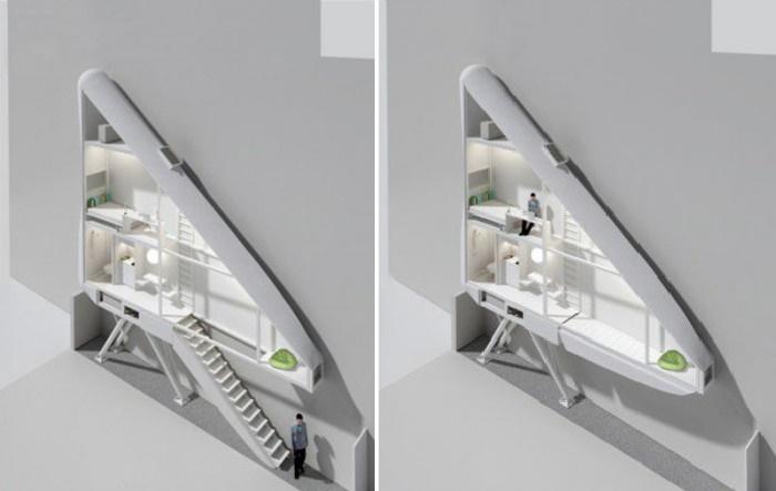 План-чертеж самого узкого дома в мире позволяет рассмотреть, как он устроен (Keret House, Варшава).