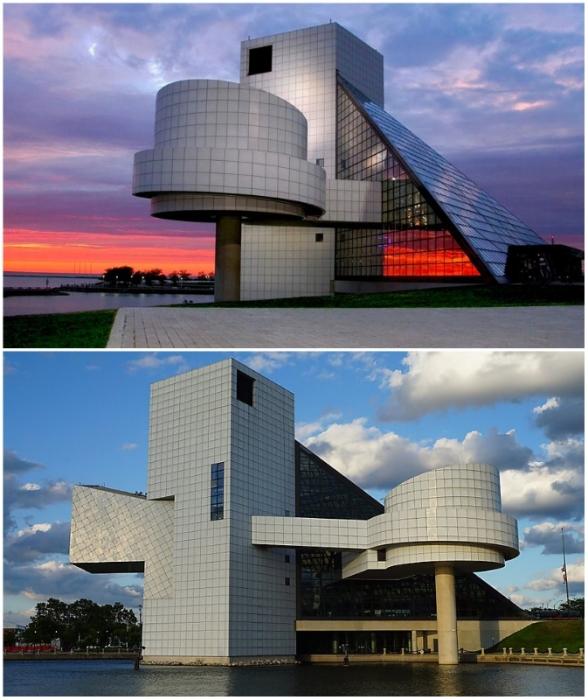 Простые геометрические формы приобретают небывалую выразительность, если за их компоновку берется талантливый архитектор (Rock & Roll Hall of Fame, Квитленд).