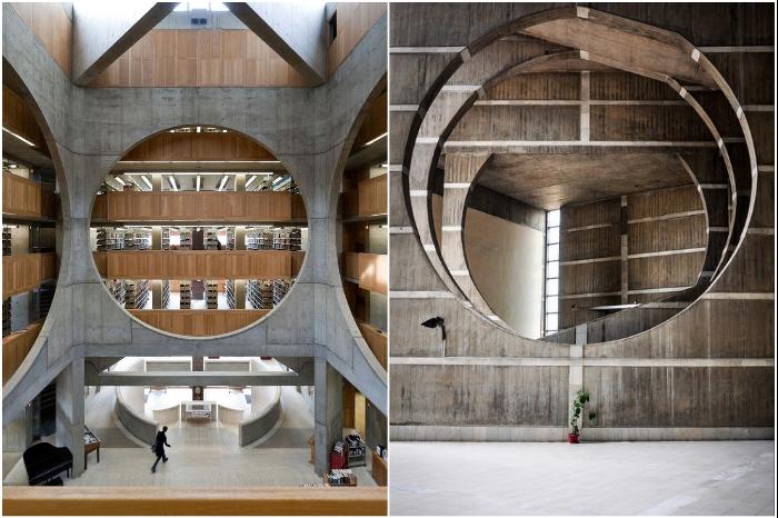Интерьер масштабного архитектурного комплекса не менее впечатляет (The National Parliament House in Dhaka, Бангладеш).