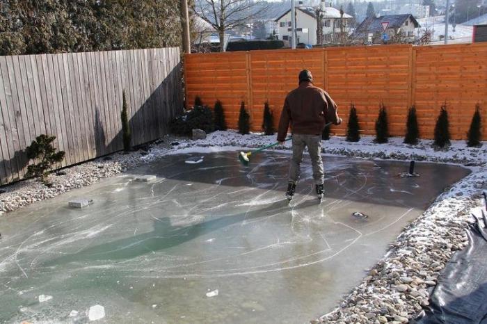 Зимой пруд превратился в настоящий каток, где можно всей семьей и в кёрлинг поиграть. | Фото: 4tololo.ru.