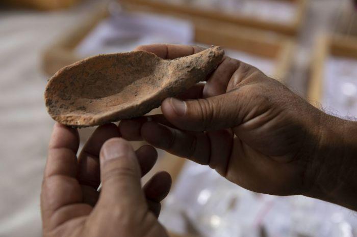 Ложка из змеиного камня (Motza, Израиль).   Фото: Olivier Fitoussi/ Israel Antiquities Authority.