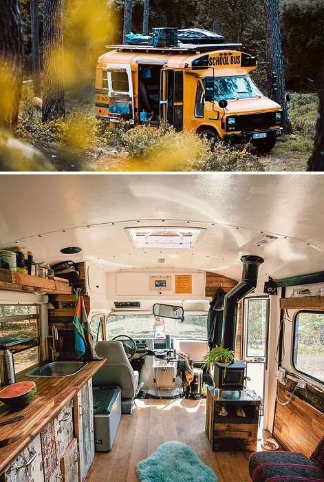 Чтобы минимизировать затраты на переоснащения школьного автобуса, владельцы собирали все материалы на мусорных полигонах. | Фото: tutkatamka.com.ua.