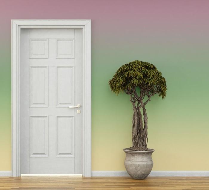 Использование обоев с градиентом поможет оформить интересный и стильный интерьер. | Фото: rock-and-wall.ru.