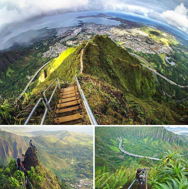 «Лестница в небеса» на острове Оаху. (США).