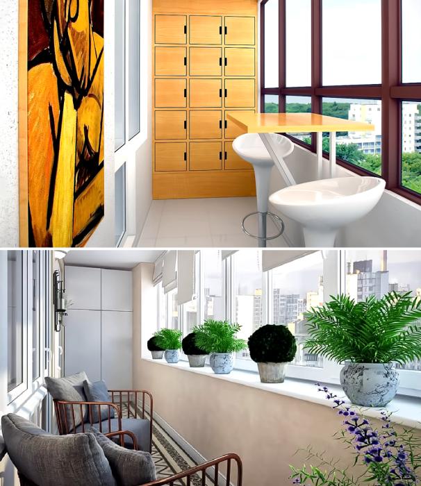 Даже на крошечном балконе/лоджии можно организовать вместительные системы хранения без ущерба для зоны отдыха. | Фото: youtube.com/ ДИЗАЙН и ИНТЕРЬЕР.