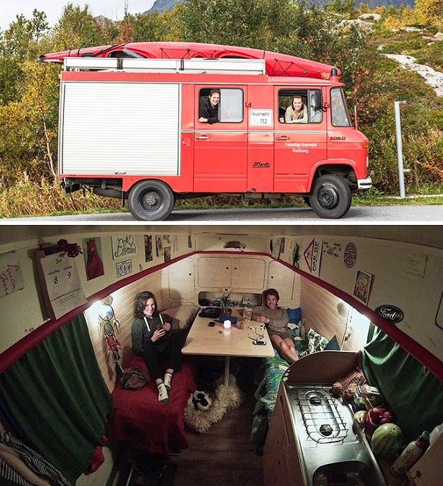 Две сестры уже 8 месяцев колесят по Европе на переоборудованной пожарной машине. | Фото: tutkatamka.com.ua.