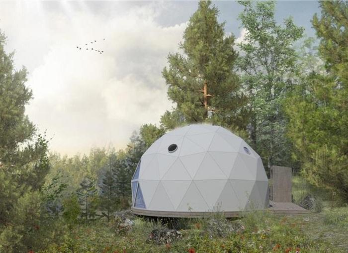 Конструкция палатки-номера собирается из треугольных модулей (Domes Charlevoix, Канада). | Фото: chaletsauquebec.com.