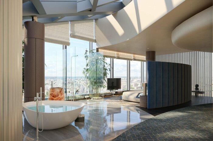 Одна из ванных комнат самой большой квартиры России («Платиновые апартаменты», «Башня «Восток»). | Фото: apartments.fedtower.ru.