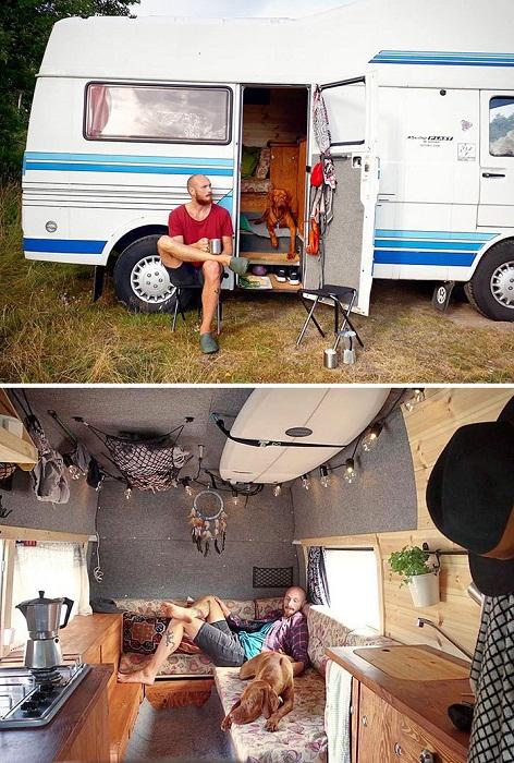 Владелец фургона закончил преобразования и собирается в дальнее путешествие со своим четверолапым другом. | Фото: tutkatamka.com.ua.