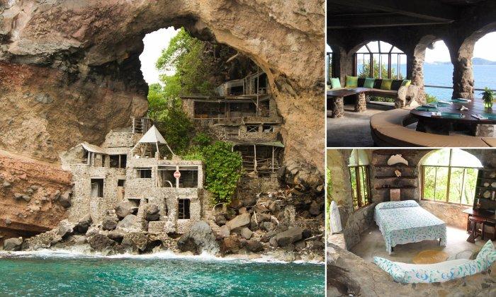 Отель «Лунная дыра» состоит из пяти каменных номеров-вилл, с которых открывается захватывающий вид на море (о. Бекия, Карибское море). | Фото: dailymail.co.uk.