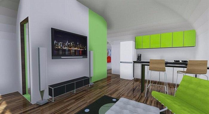 Вариант оформления интерьера в стиле дом-студия.