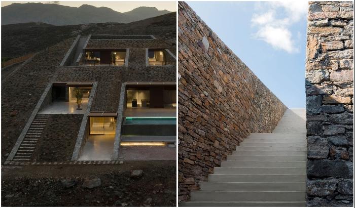 Лестница, ведущая вдоль резиденции Ncaved House (о-в Серифос, Греция).
