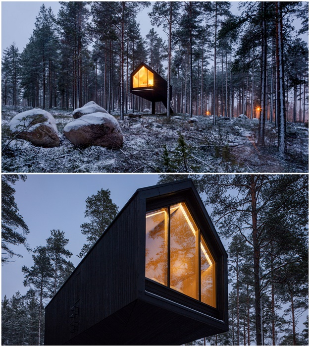 На финском высокогорье появился колоритный гостиничный номер на «курьих ножках» (Kivijarvi Resort, Niliaitta).