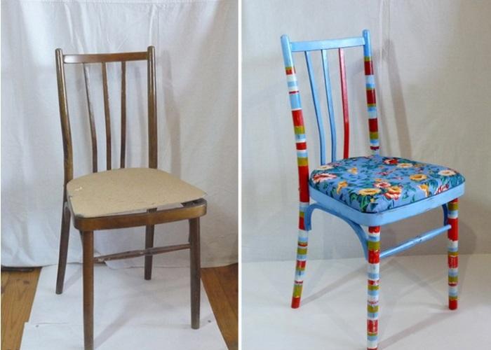 Старый стул можно превратить в оригинальный предмет интерьера. | Фото: gderemont.com.