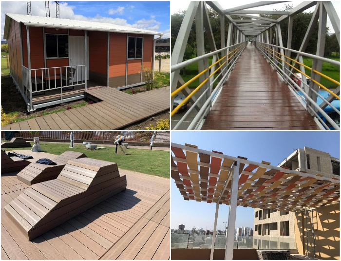 Материал WPC используется в строительстве и обустройстве территорий (Колумбия).
