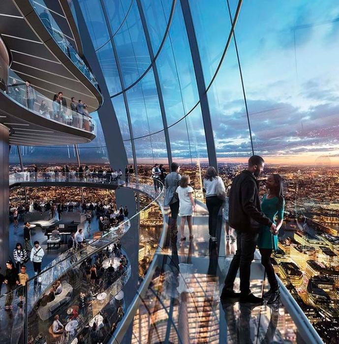 Вершина самого высокого небоскреба Лондона станет идеальным местом для незабываемых романтических встреч и прогулок (концепт The Tulip, Великобритания). | Фото archidom.ru.