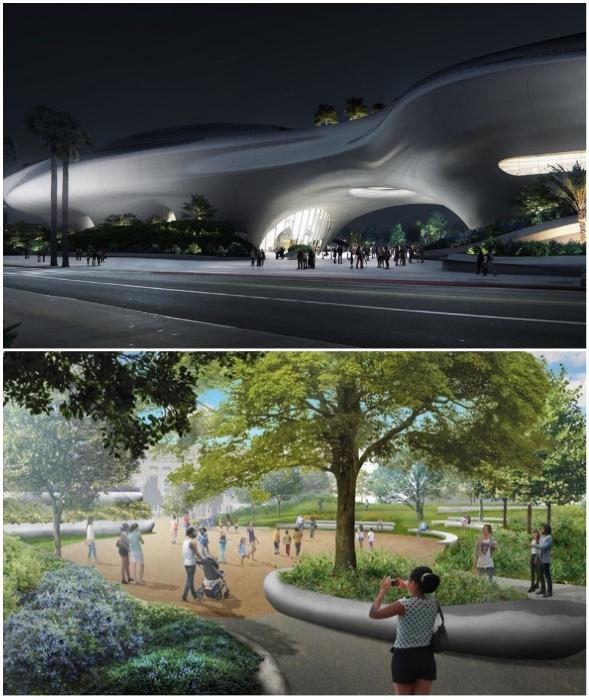 Вся территория, первый этаж и крыша футуристического здания превратятся в зеленые зоны и открытое общественное пространство (Lucas Museum of Narrative Art, Лос-Анджелес).