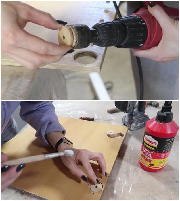 Отверстия от старых петель можно замаскировать фанерными плашками нужного размера.