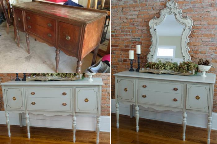 Старая мебель в новом интерьере будет выглядеть эффектно, если умело провести реставрацию. | Фото: pinterest.co.kr.