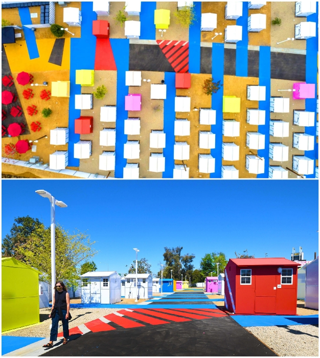 В поселении для бездомных Alexandria Park Tiny Home Village уже обустроено 103 домика для жизни и общие бытовые зоны.