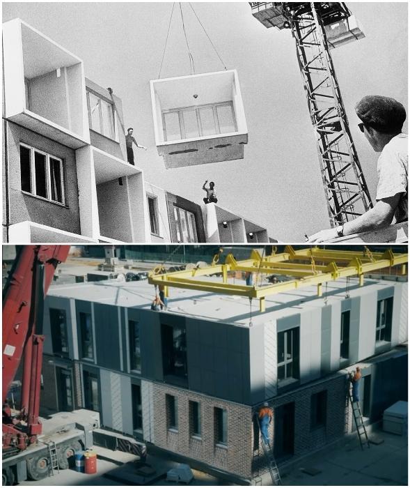 Строительство панельных домов в СССР и сейчас.