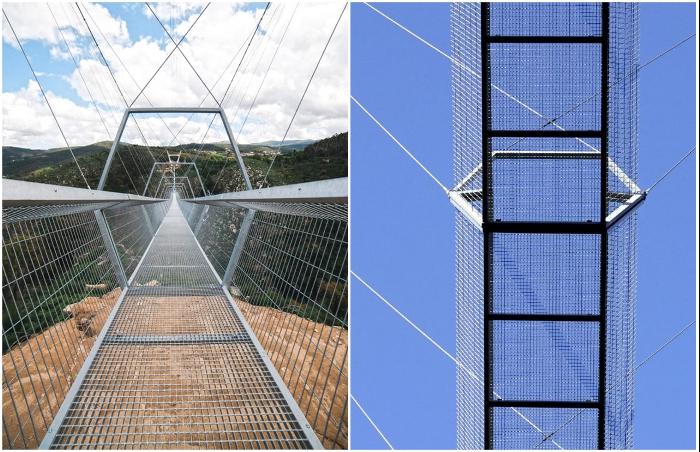Пешеходное полотно состоит из 124 четырехметровых решетчатых модулей, которые больше всего пугают путешествующих (516 Arouca Bridge, Португалия).