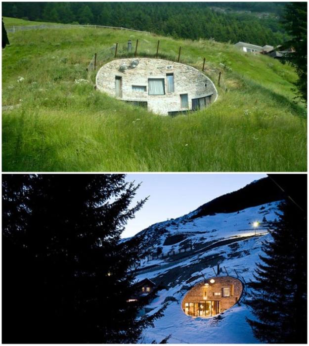 Роскошная вилла внутри холма швейцарских Альп – идеальное место для уединенного отдыха (Villa Vals, коммуна Вальс).