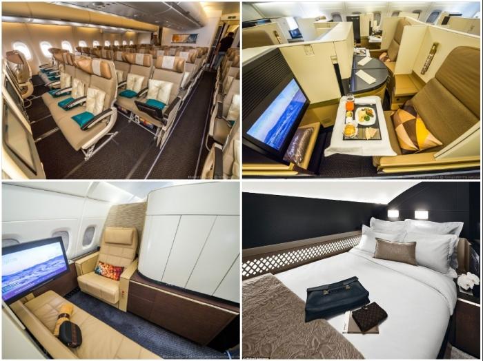 В самом комфортабельном авиалайнере мира в каждом классе обслуживания услуги и удобства на высшем уровне (Airbus А-380 Etihad).