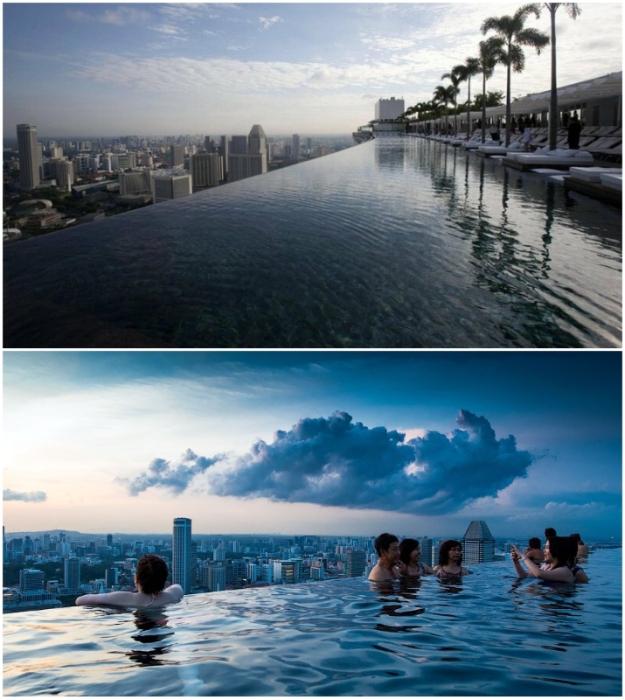 Парящий над городом бассейн привлекает в отель много посетителей (Marina Bay Sands, Сингапур).