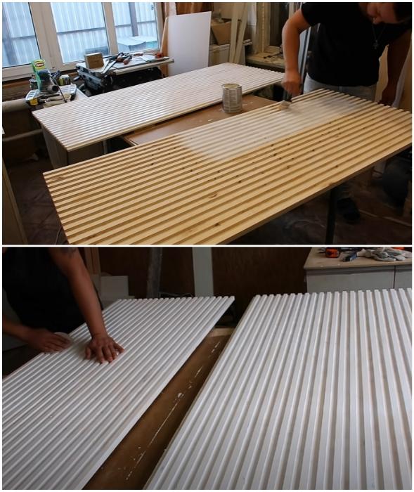 После высыхания слоя краски поверхность нужно зашкурить наждачной бумагой.