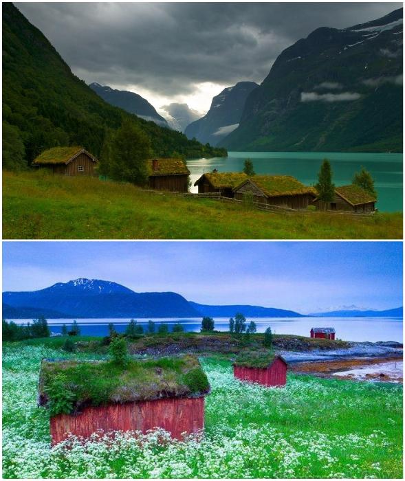 Колоритные домики идеально вписываются в живописный скандинавский пейзаж.