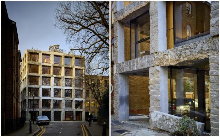 Необычное здание с огромными окнами и облицовкой из «необработанного» известняка вызывает жаркие споры (15 Clerkenwell Close, Лондон).