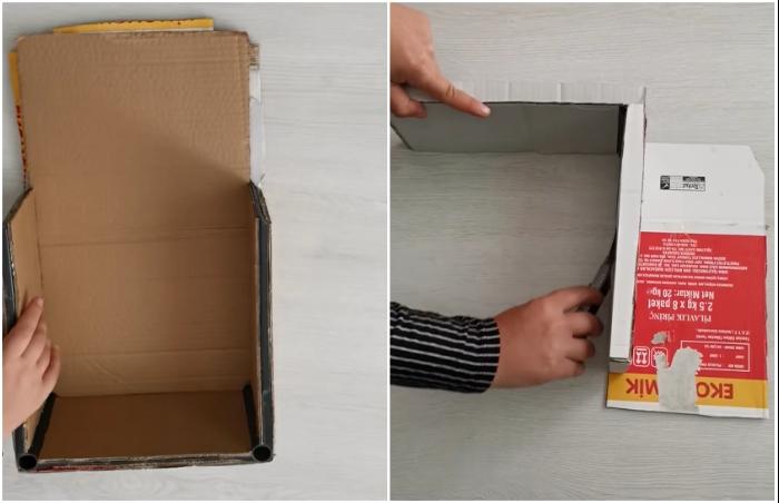 Используя плотный гофрокартон, создаем ровные стены и крышу.