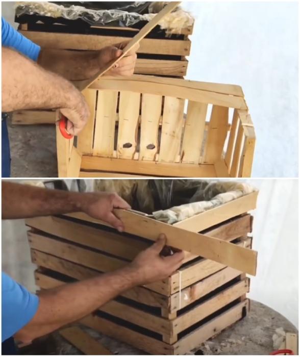Фанерные дощечки из третьего ящика идеально подойдут для маскировки мест крепления агроволокна и пленки.