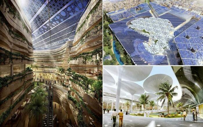 Футуристические формы архитектурных сооружений, «умные» системы, комфортная температура, современный быт и отсутствие автомобилей должны привлечь новую формацию людей (Masdar, ОАЭ).