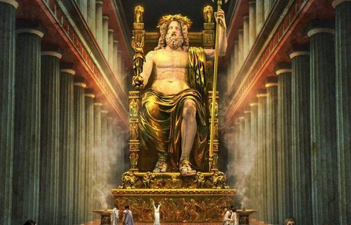 Статуя Зевса из Олимпейона является одним из Семи Чудес света (цифровая визуализация). | Фото: awesomeworld.ru.