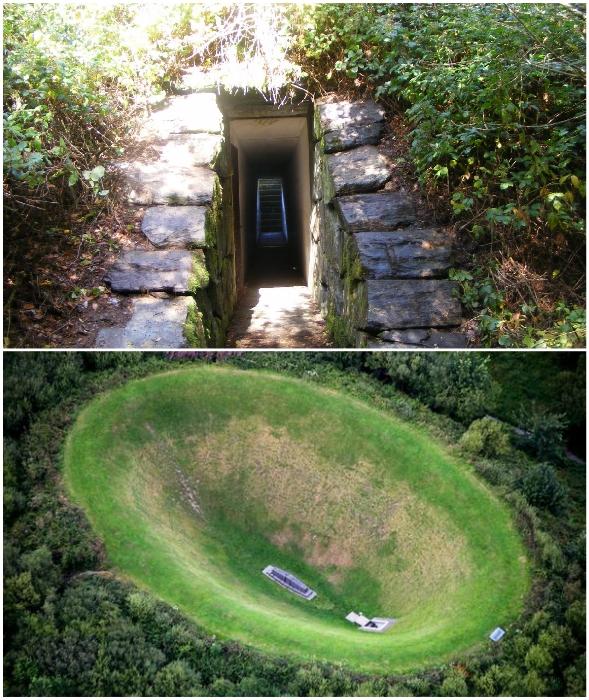 На дно рукотворного кратера можно попасть только через подземный туннель («Ирландский небесный сад»).