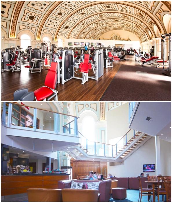 Для спортсменов обустроили не только тренажерный зал, но и гостиную, где можно расслабиться или пообщаться (Repton Park, Великобритания).