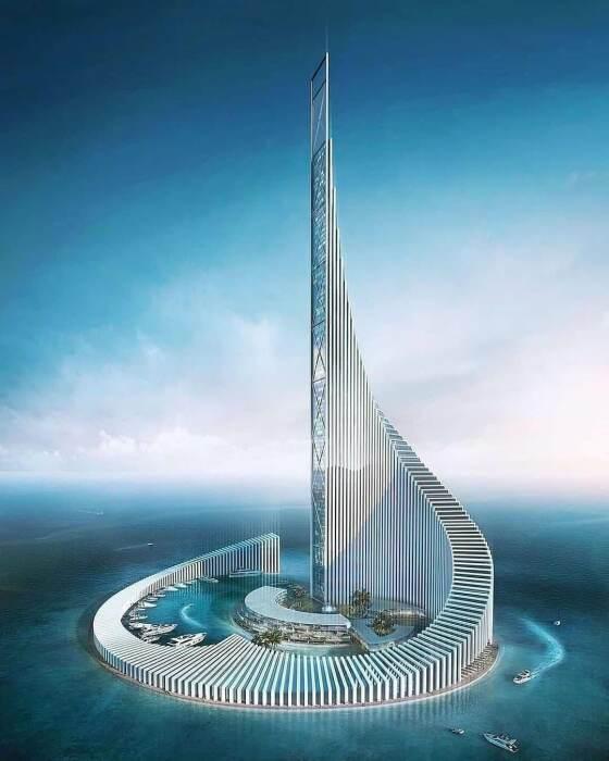 Если строительство будет завершено, Башня Домино появится посреди искусственного острова в Индийском океане (концепт). | Фото: africa.businessinsider.com.