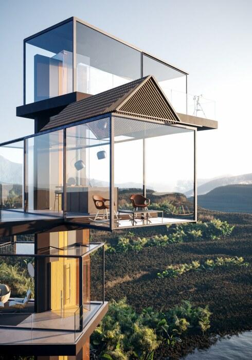 Прозрачные модульные блоки рассчитаны на обустройство отдельных комнат (концепт «Дом на рисовом поле»). | Фото: designboom.com.