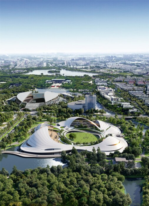 Извилистая волнообразная крыша объединит три грандиозных объекта в одну структуру (концепт Jiaxing Civic Center).   Фото: aasarchitecture.com.