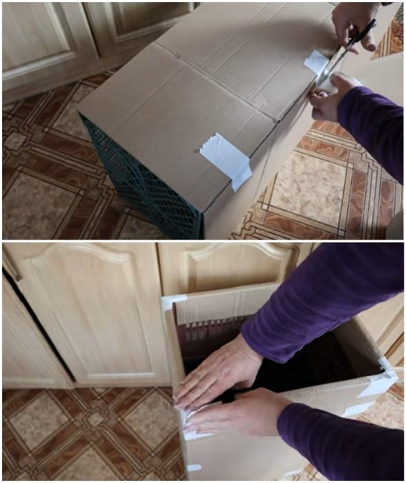Используя гофрокартон можно выровнять поверхность ящиков.