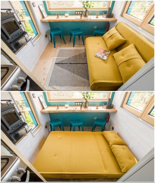 Гостиная маленького домика от дизайнеров французской компании Baluchon (Tiny House Siana).