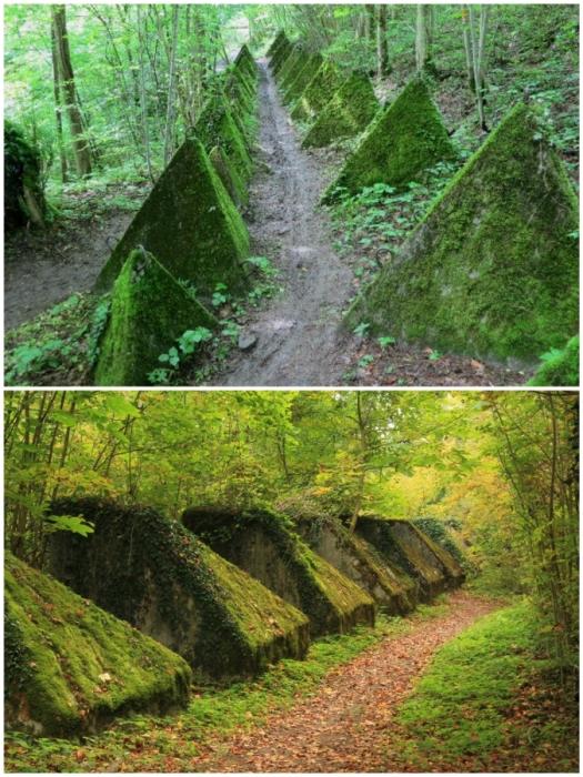 Возле «Линии Тоблерон», к которой так и не подошли советские войска, теперь проходят туристические тропы (Toblerone lines, Швейцария).