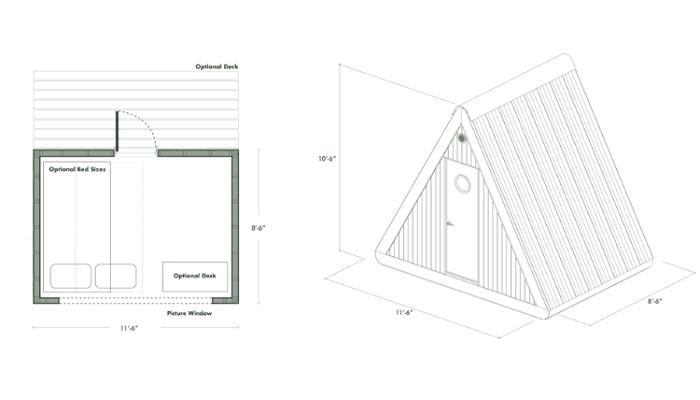 Стандартная внутренняя планировка и габариты мобильной хижины от компании Bivvi Camp.