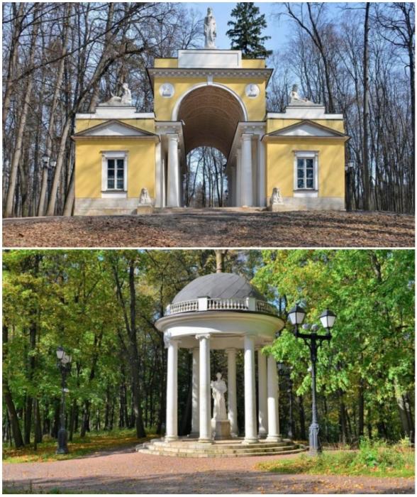 Беседки и павильоны изящно интегрированы в пейзажную часть загородной резиденции («Усадьба Царицыно», Москва).
