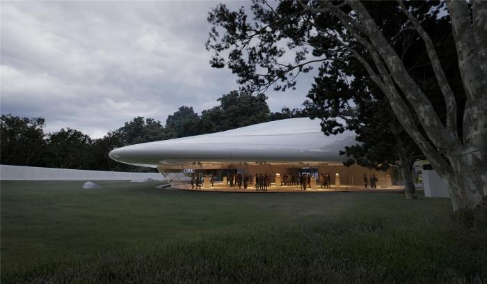 Особенно эффектно выглядит та часть здания, аморфная крыша которой «парит» над землей (концепт Aranya Cloud Center). | Фото: mymodernmet.com.