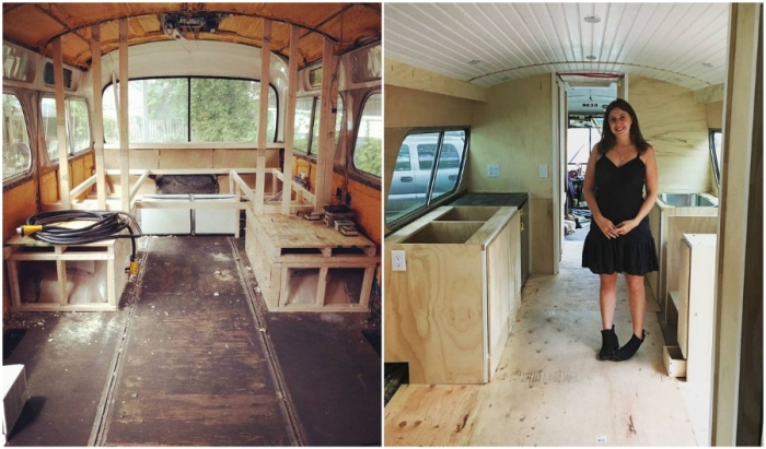 Общими усилиями удалось избавиться от старых «внутренностей» автобуса и начать трансформацию.