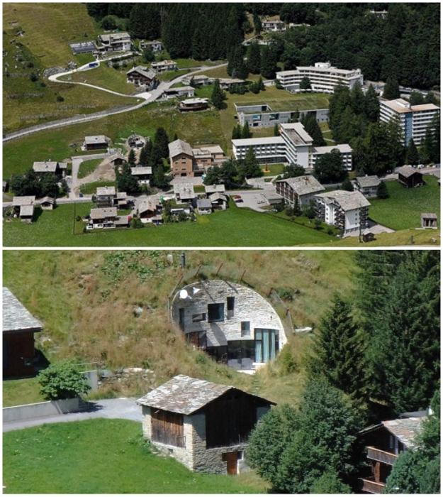 Villa Vals расположена в долине, где находится популярный горнолыжный курорт Therme Vals (Швейцария).