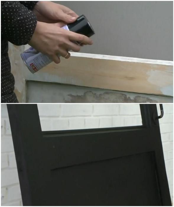 Двери покрасили аэрозольной матовой краской черного цвета, чтобы гармонично вписались в интерьер прихожей.